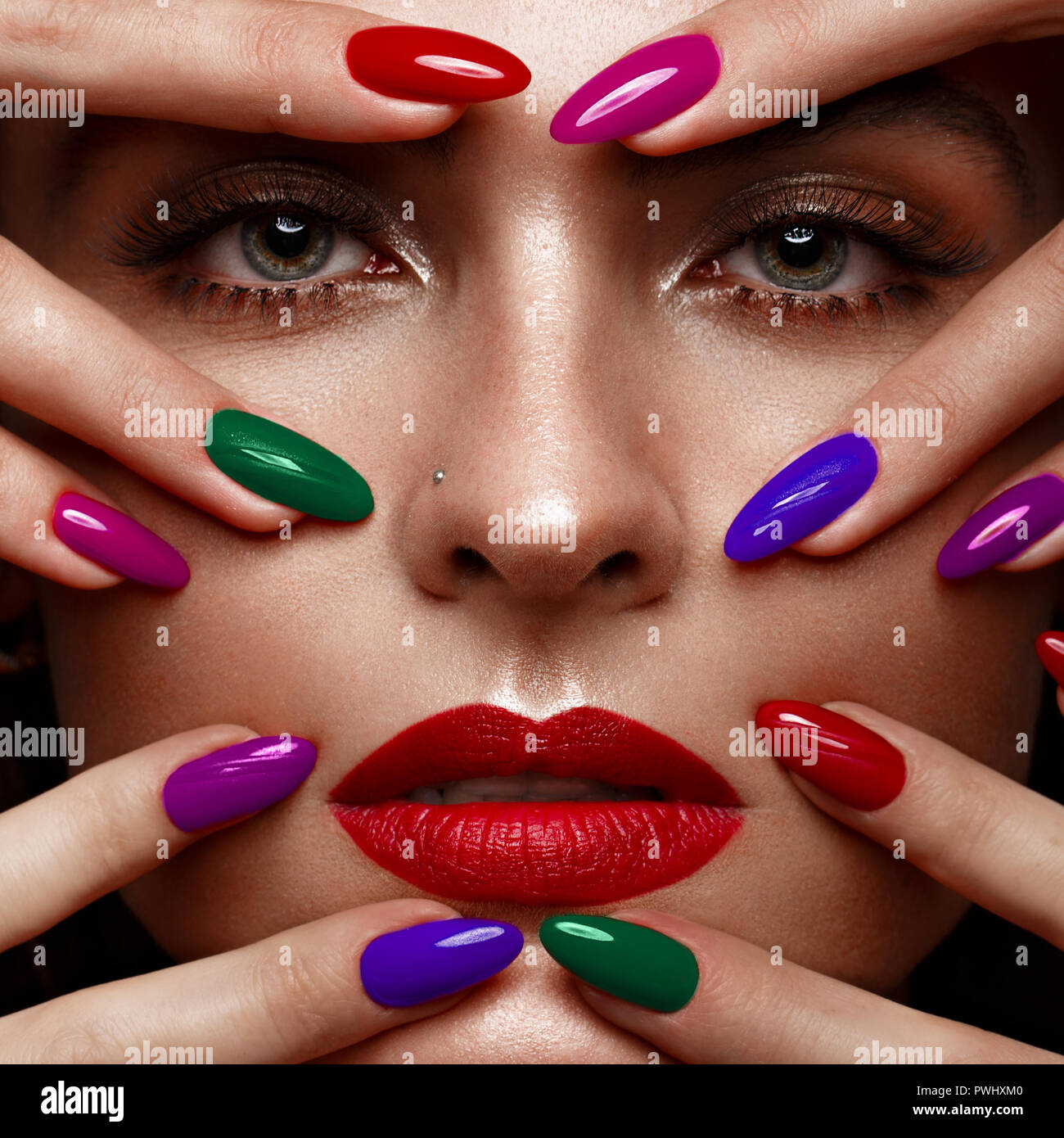 Dynamic Views Very Beautiful And Preity Nails Art Red: Colored Nails Stock Photos & Colored Nails Stock Images