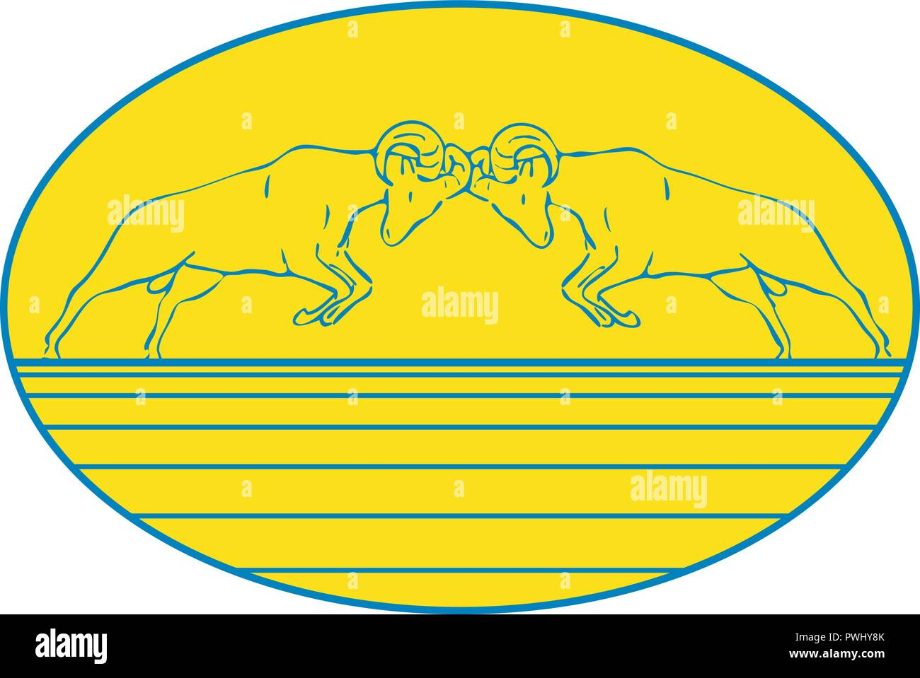 Drawing sketch style illustration of two bighorn sheep rams butting heads in a rut for dominance in mating season set inside oval on isolated white ba - Stock Vector
