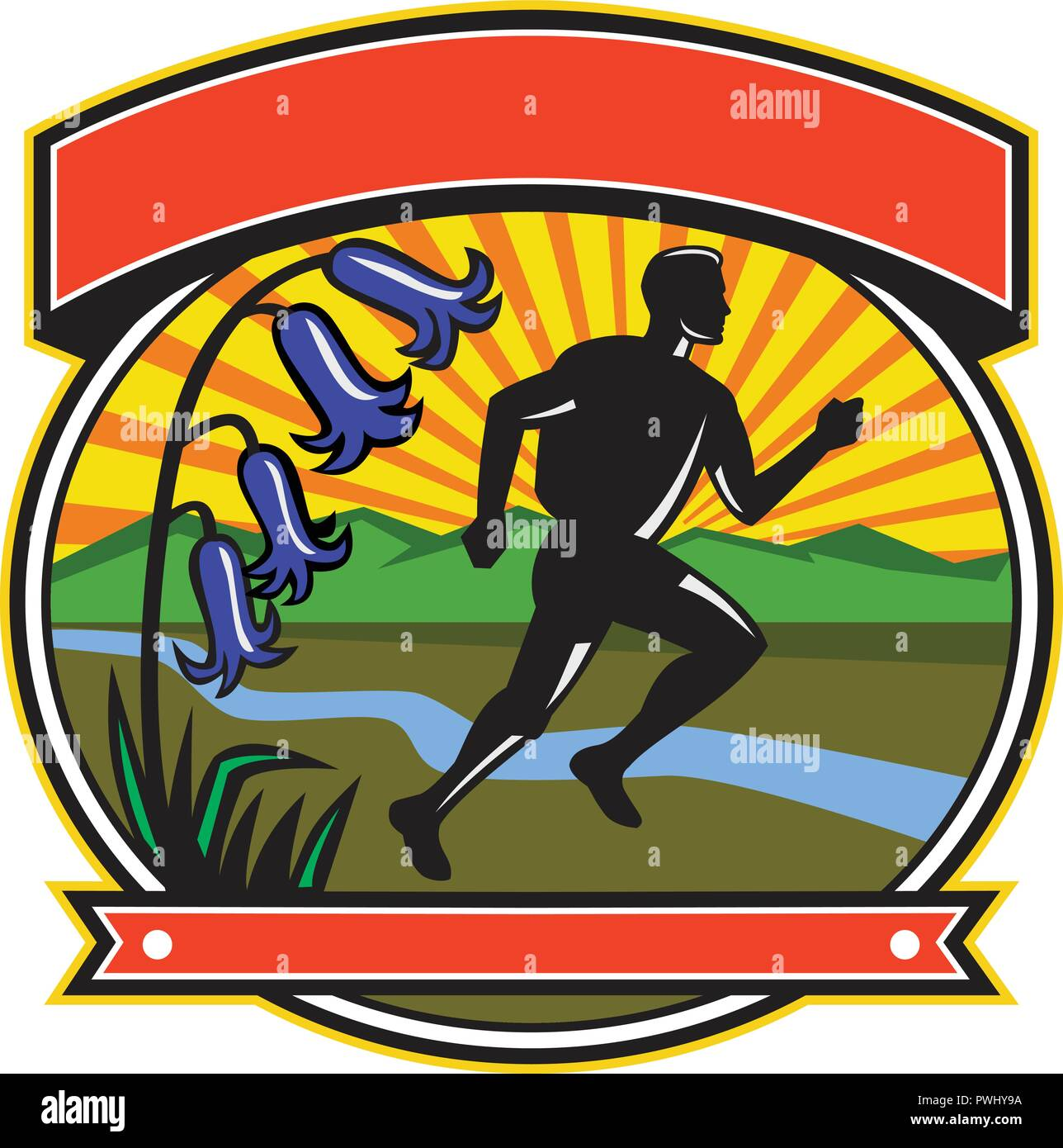 168f5ea28af Icon retro style illustration of a trail runner running a cross country  marathon with bluebells set