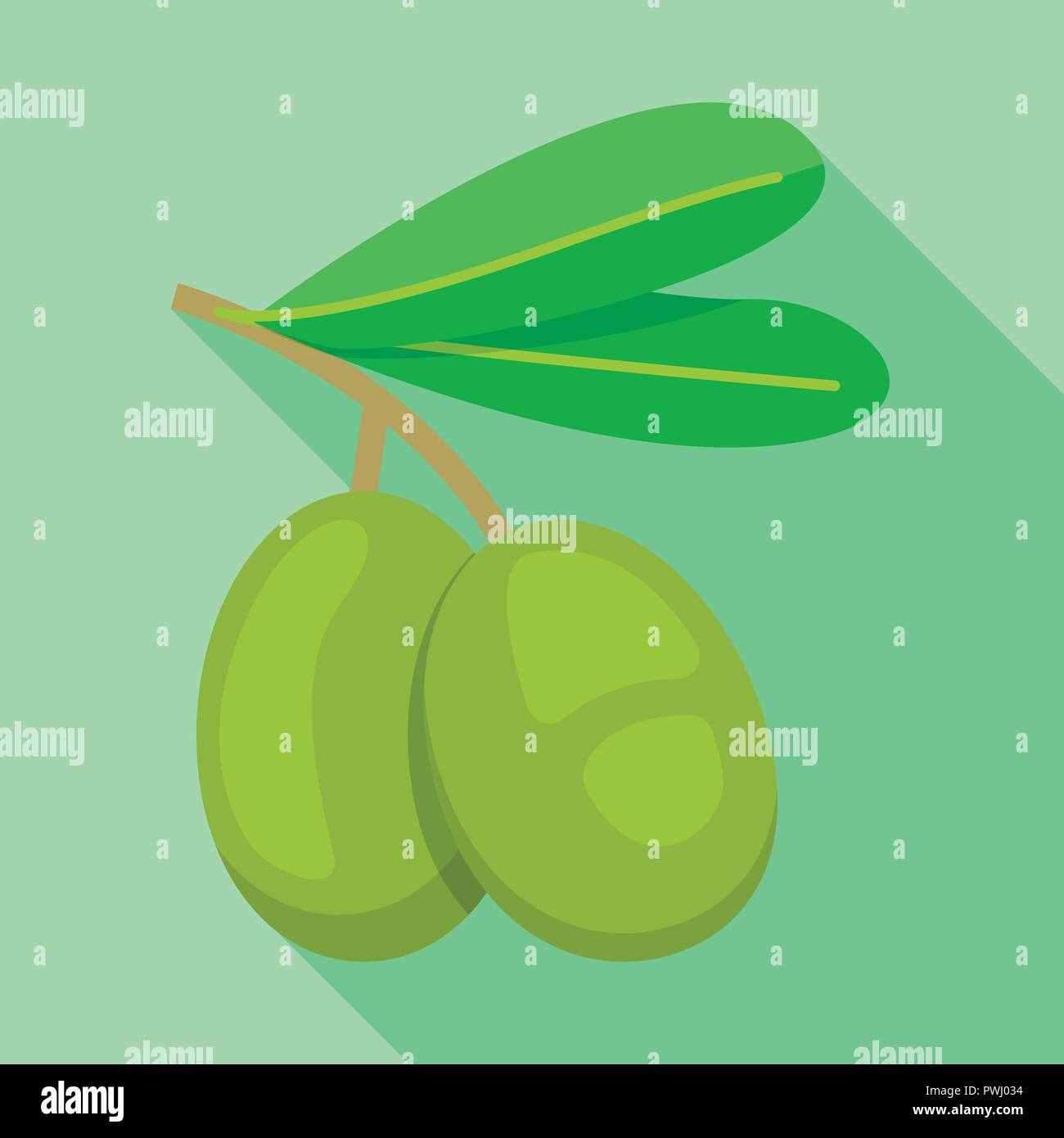 Greek olive icon, flat style - Stock Vector