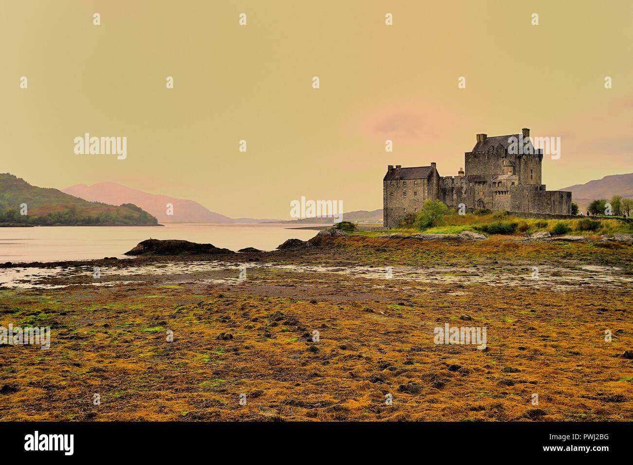 Dornie, by Kyle of Lochalsh, Northwest Highlands, Scotland, United Kingdom. Eilean Donan Castle, the most famous of Highland castles. - Stock Image