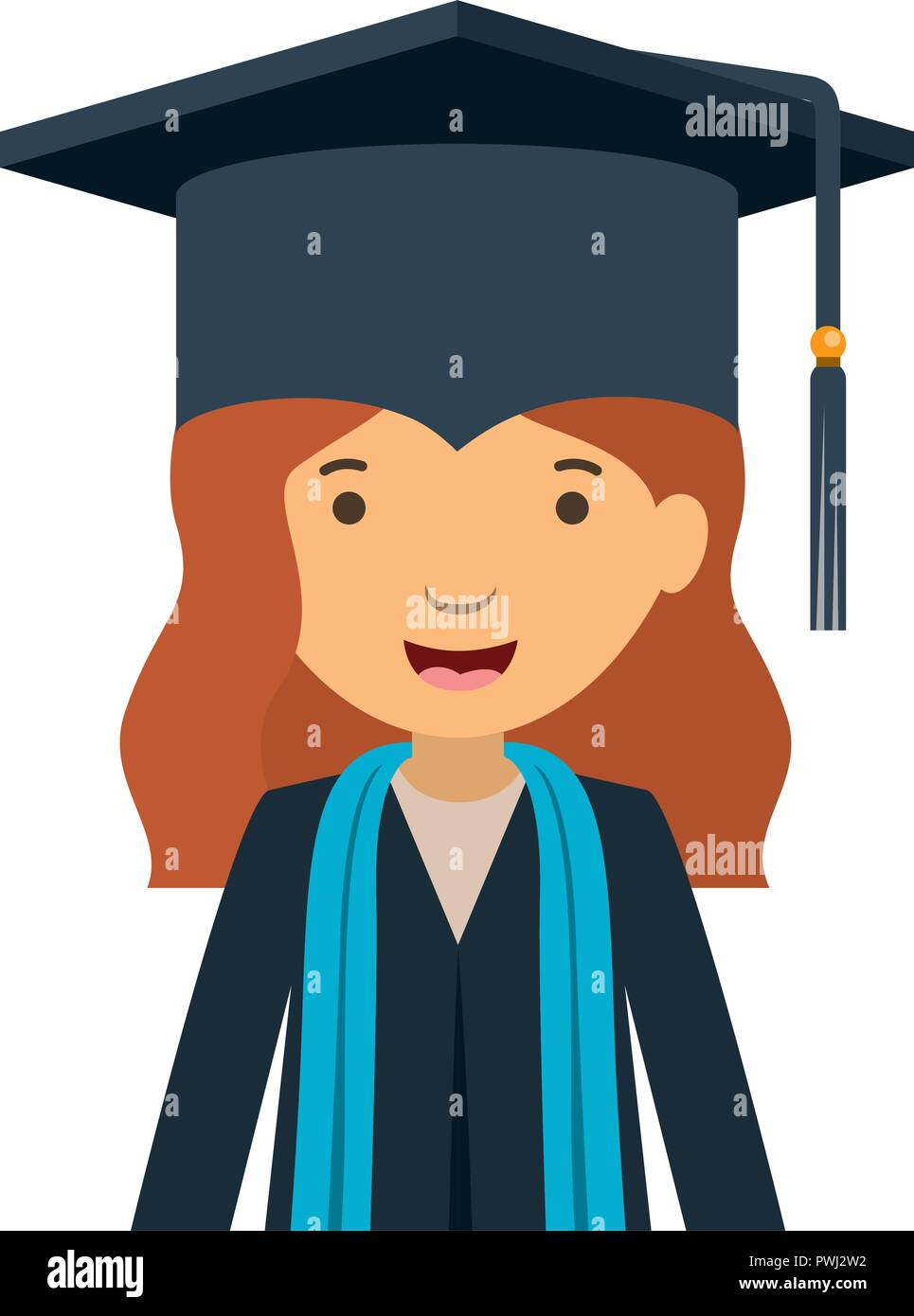young woman graduating avatar character - Stock Image