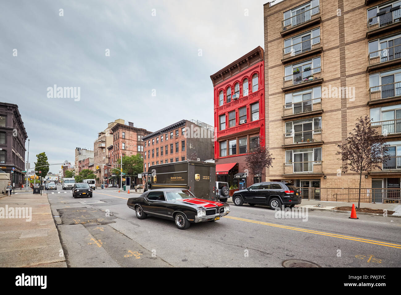 New York City, USA - July 06, 2018: Broadway Street in Williamsburg, one of Brooklyn boroughs. - Stock Image