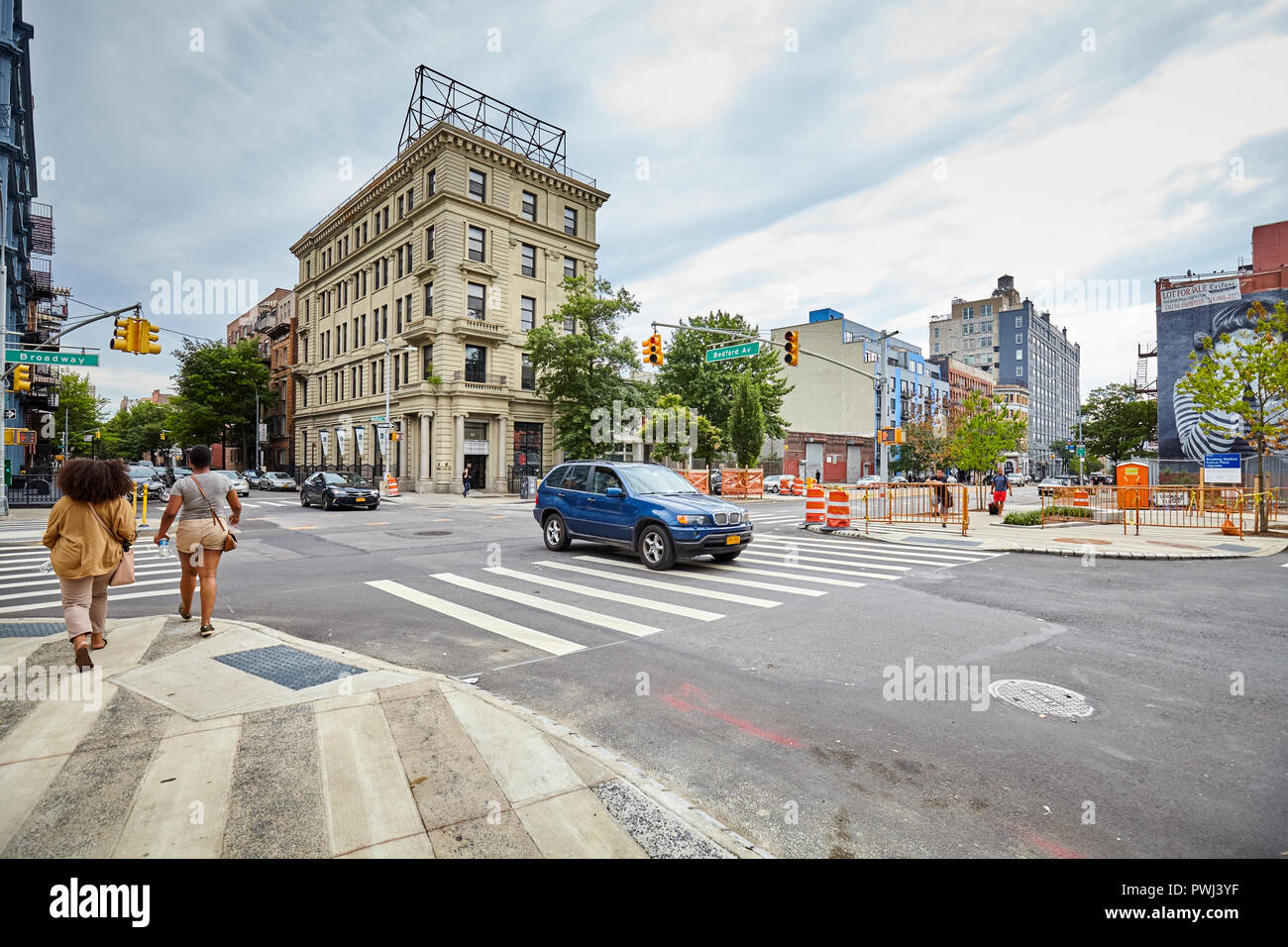 New York City, USA - July 06, 2018: Bedford Avenue in Williamsburg, one of Brooklyn boroughs. - Stock Image