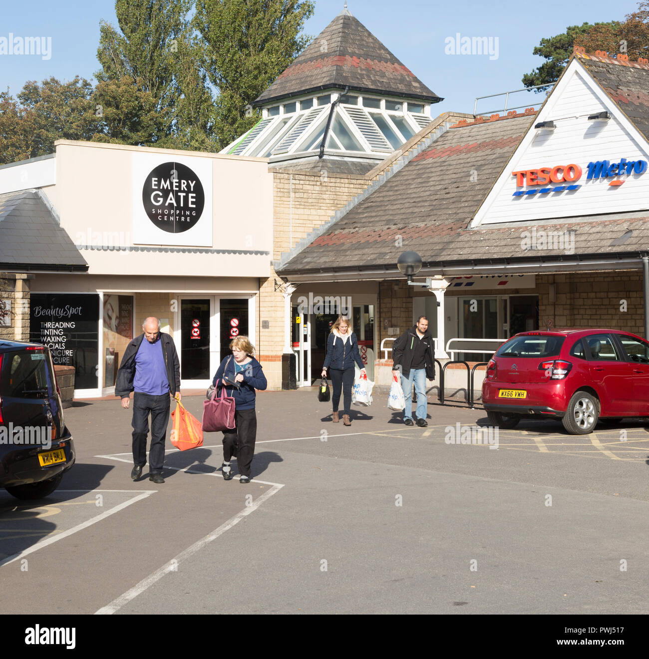 Emery Gate shopping centre car park, Tesco Metro, Chippenham, Wiltshire, England, UK - Stock Image