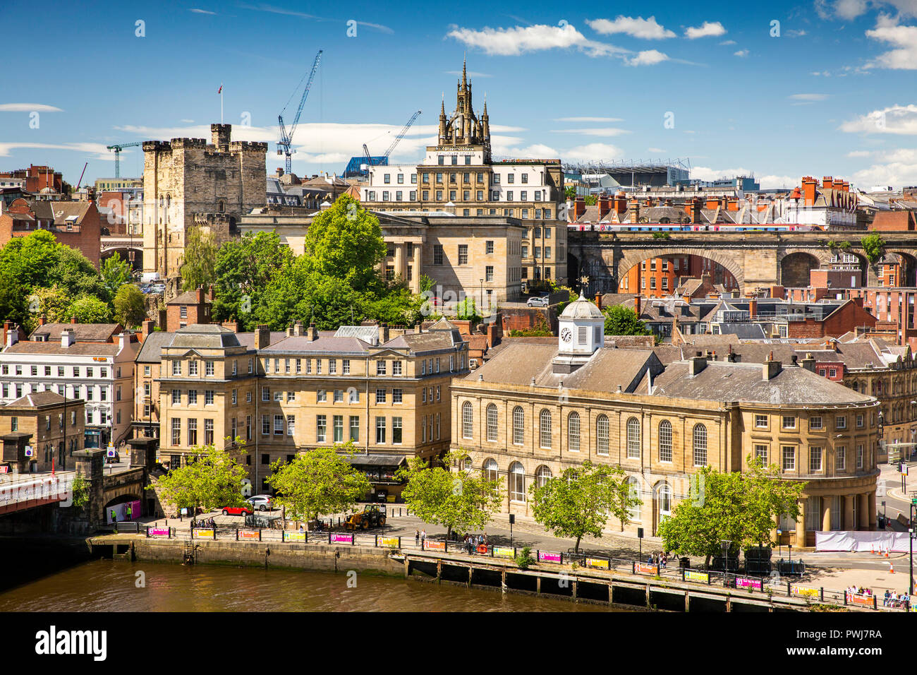 UK, England, Tyneside, Newcastle upon Tyne, elevated view of Guildhall and quayside buildings from Tyne Bridge Stock Photo