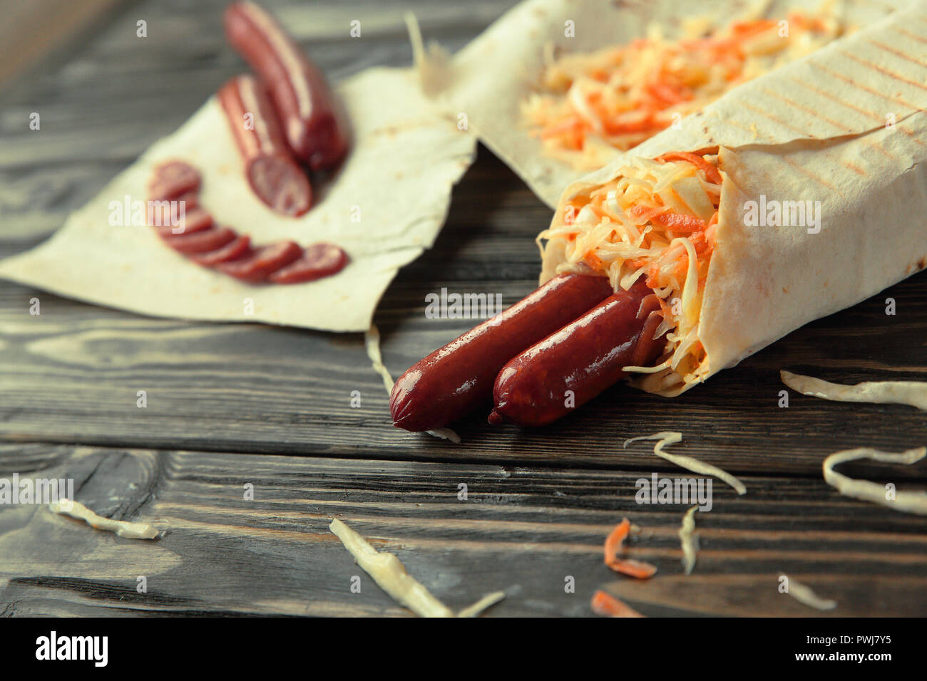sliced sausage for pita bread.photo with copy space - Stock Image