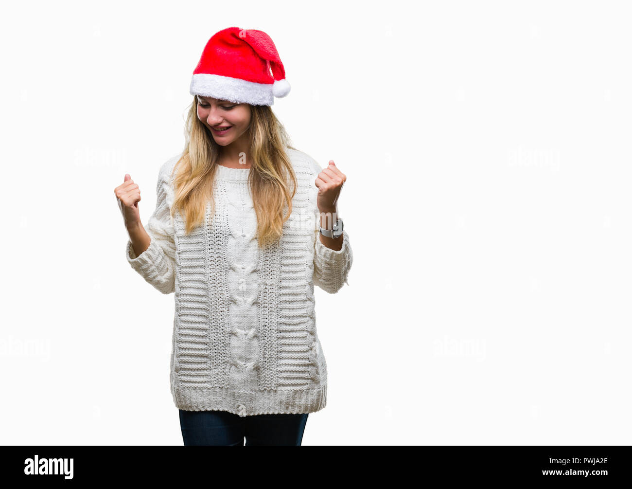 Young beautiful blonde woman wearing christmas hat over isolated background very happy and excited doing winner gesture with arms raised, smiling and  - Stock Image
