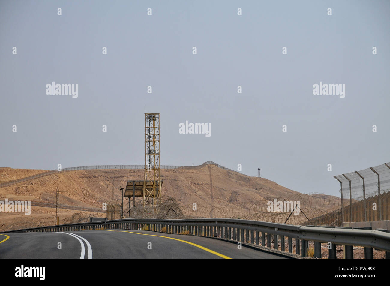 The fence of the Israeli, Egyptian border - Stock Image