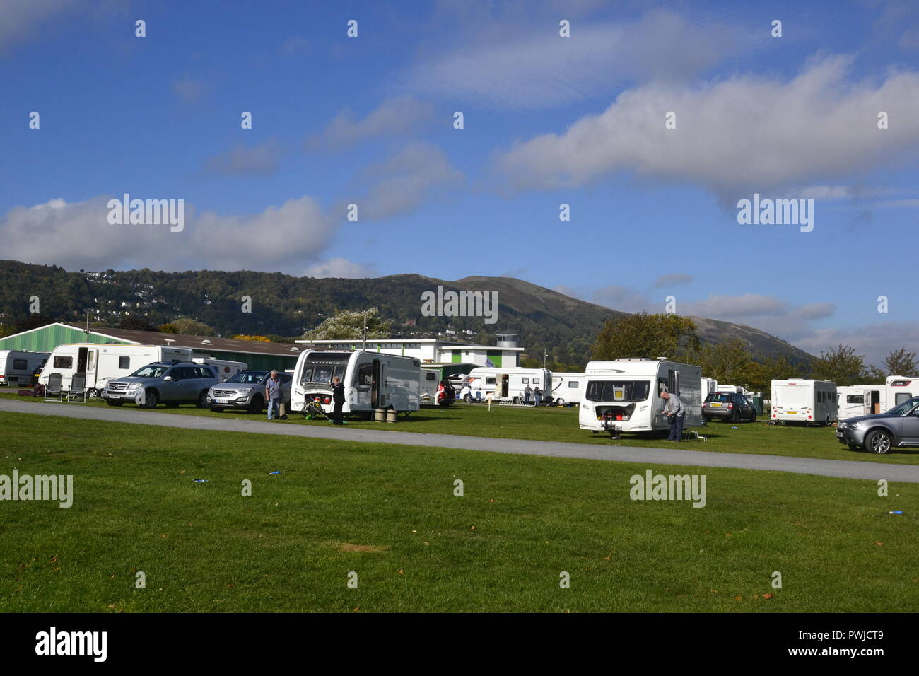 Caravans staying on site at the Malvern Caravan Show, Three Counties Showground, Malvern, Great Malvern, Worcestershire. - Stock Image