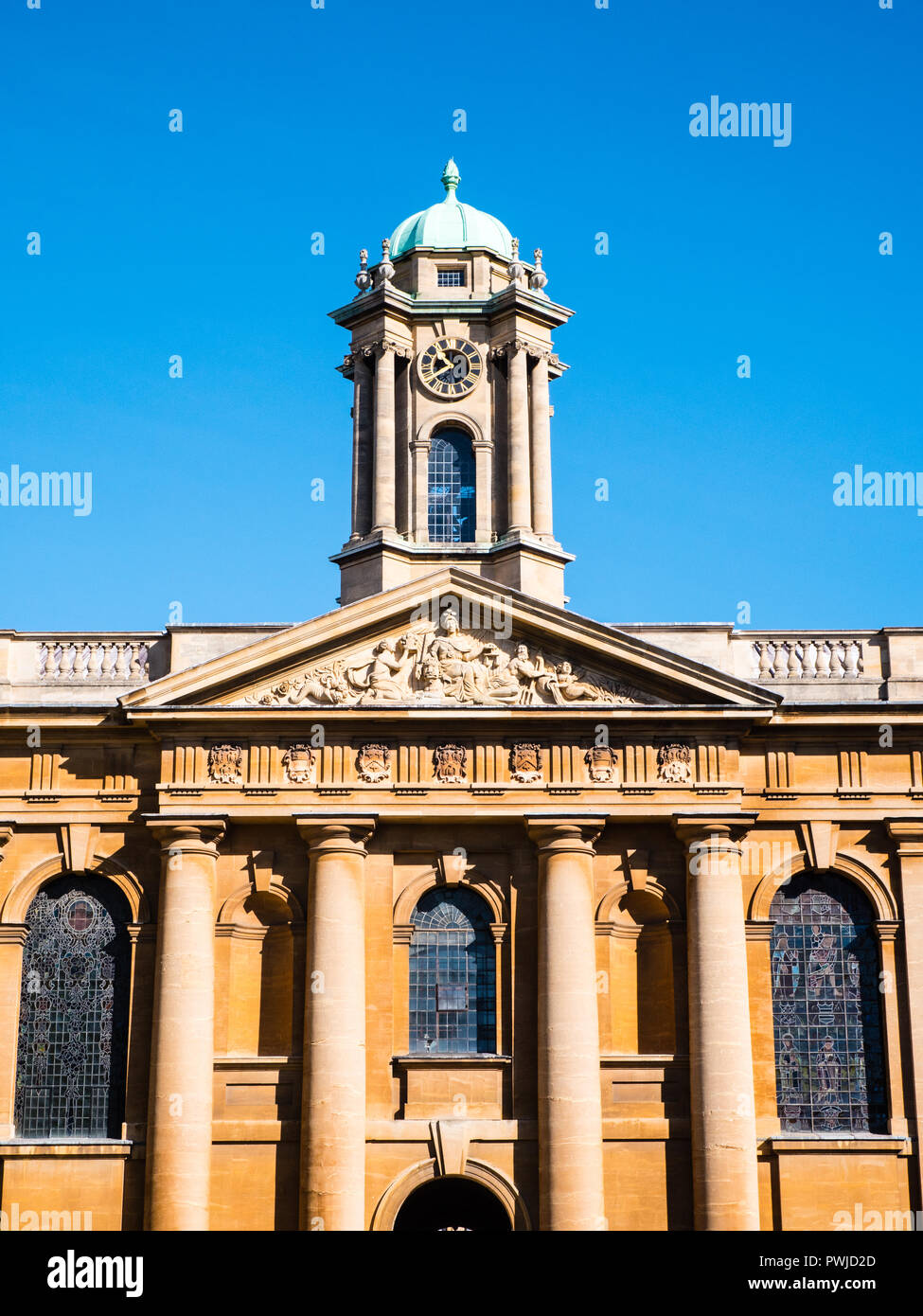 Clock Tower, Front Quad, Queens Collage, Oxford University, Oxford, Oxfordshire, England, UK, GB. - Stock Image