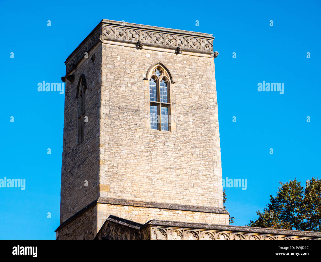 st Edmunds Hall Library, Tower, 12th-century church of St Peter-in-the-East, St Edmunds Hall, Oxford, Oxfordshire, England, UK, GB. - Stock Image