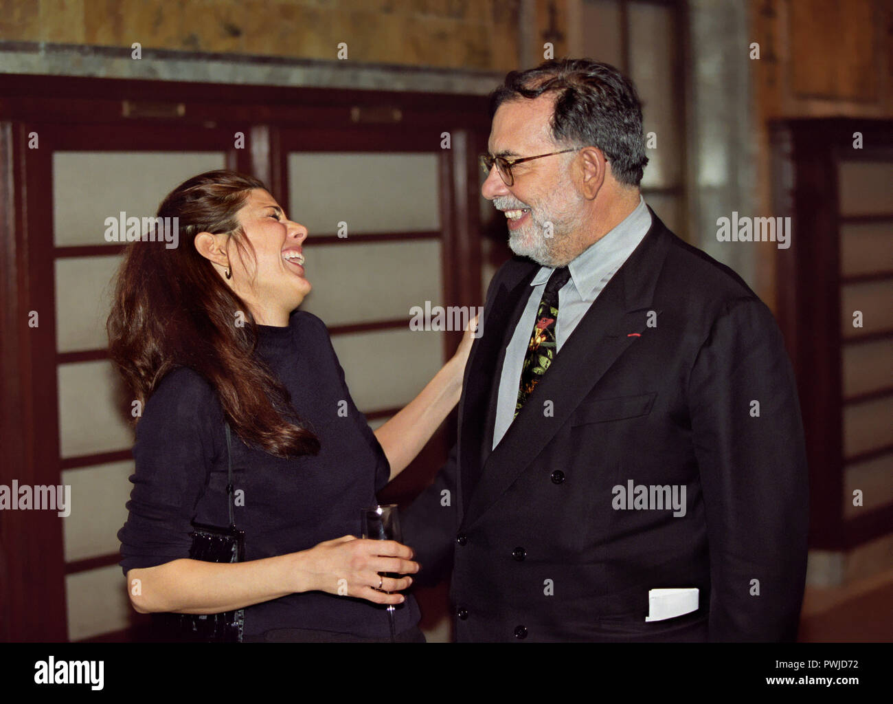 Marisa Tomei laughing with Francis Ford Coppola at a literary event for the movie industry at the New York Public Library - Stock Image