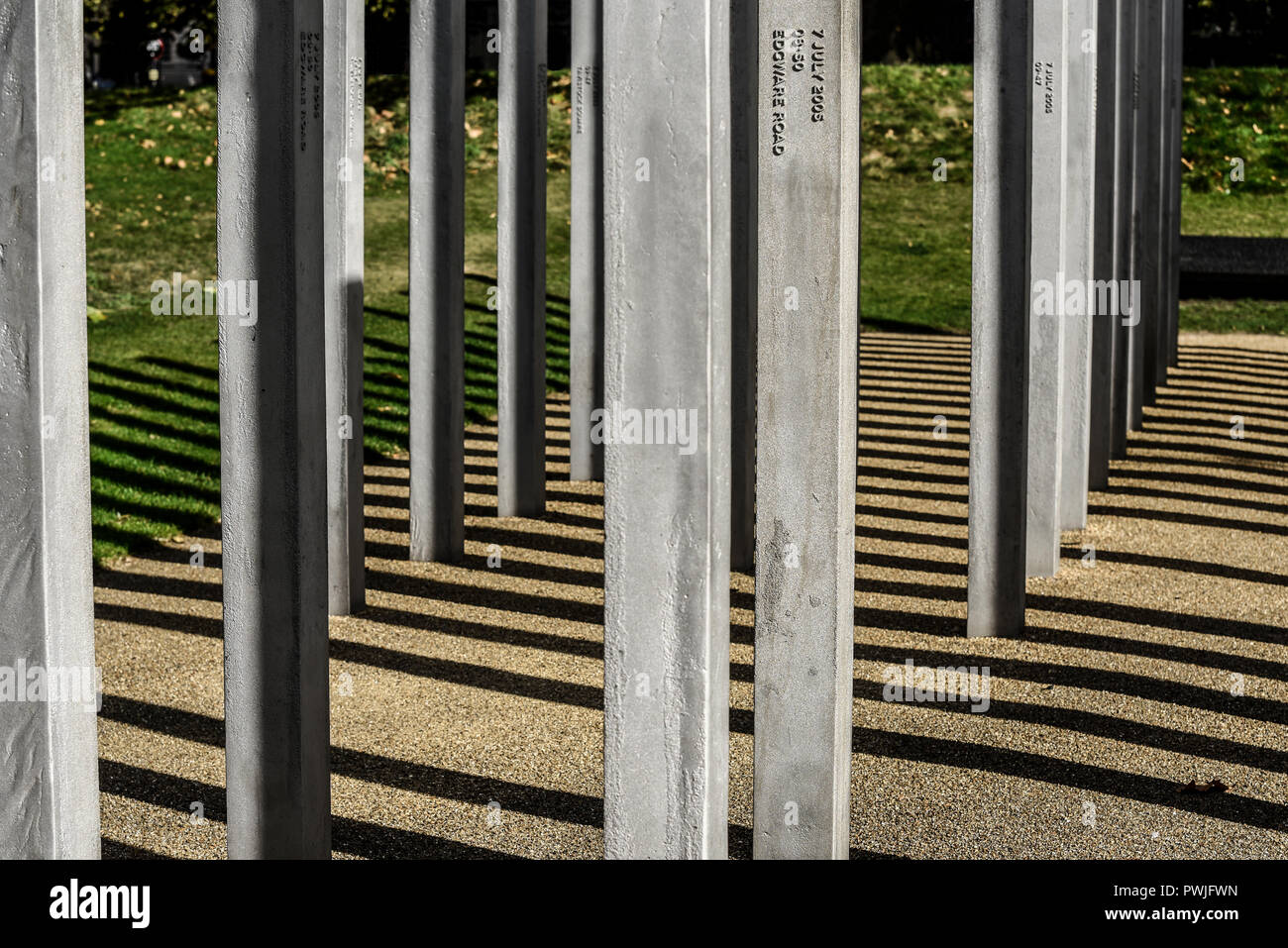 7 July Memorial, Hyde Park, memorial to the 52 victims of the 7 July 2005 London bombings at Tavistock Square, Edgware Road, King's Cross and Aldgate - Stock Image