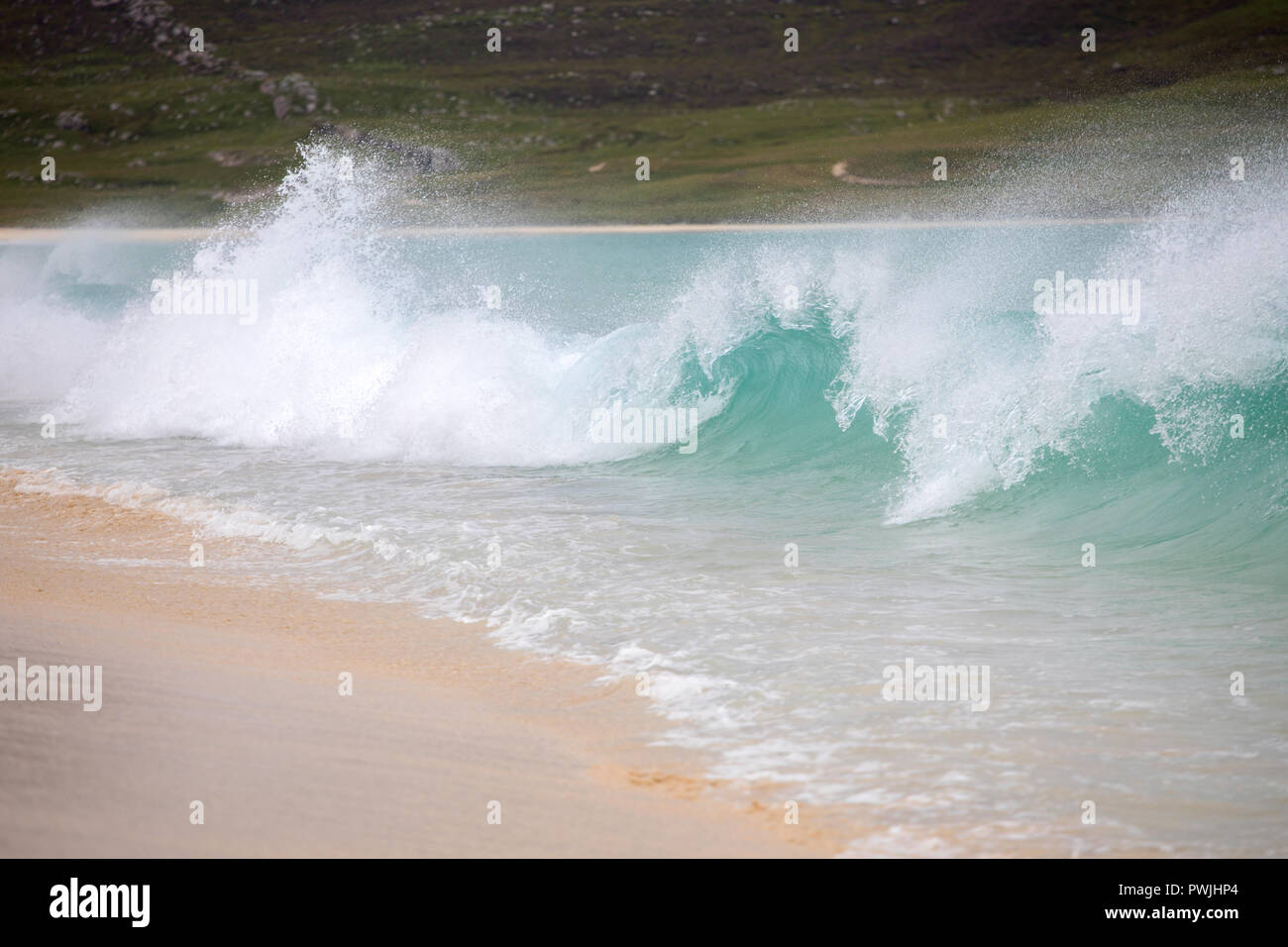 Breaking wave on Scarista beach, Harris, Outer Hebrides, Scotland, UK - Stock Image