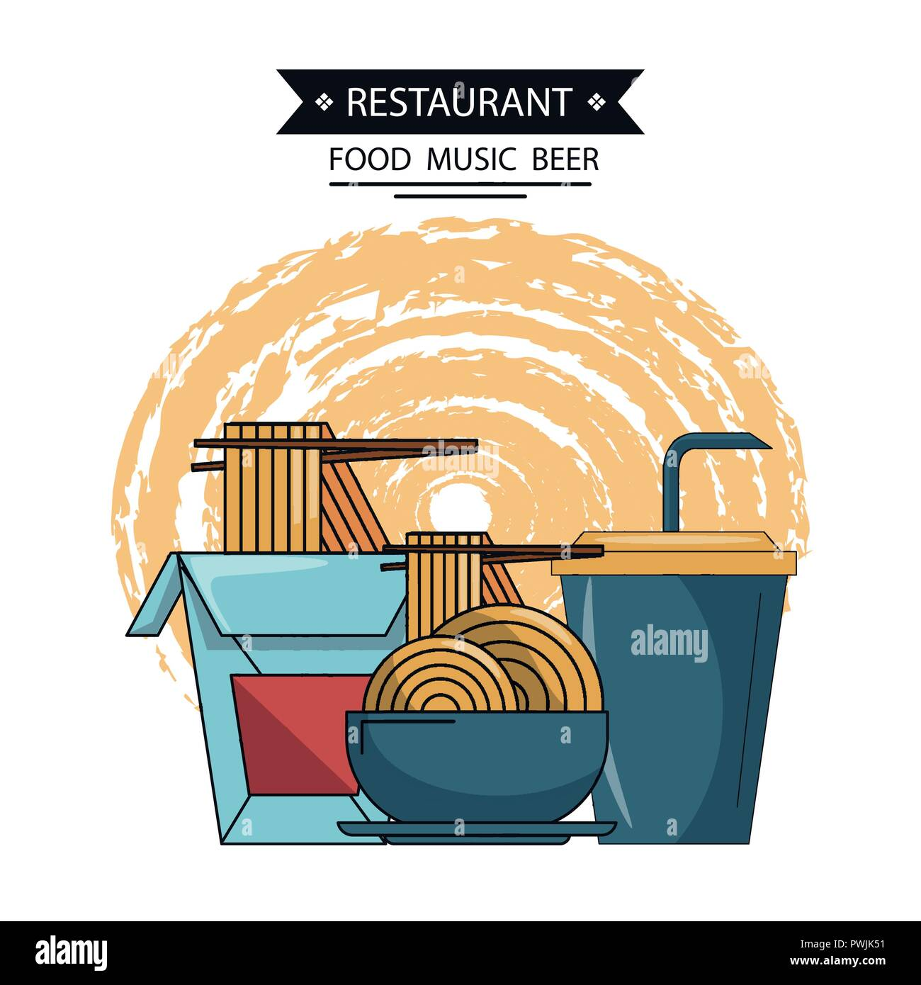 Chinese Food Items And Dining Utensils Vector Illustration Graphic Design Stock Vector Image Art Alamy