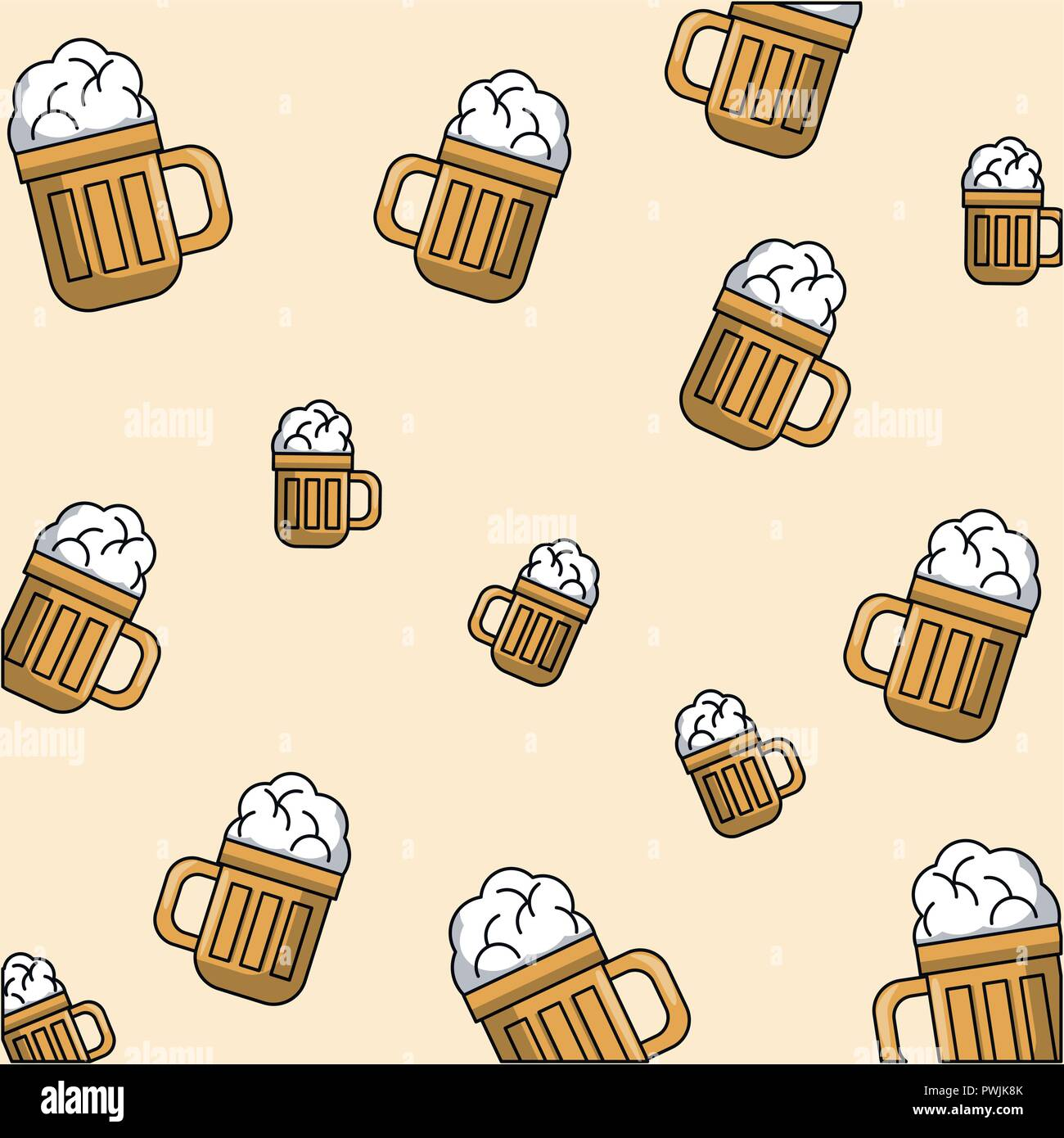 Cold Beer Glasses Pattern Theme Color Wallpaper Vector