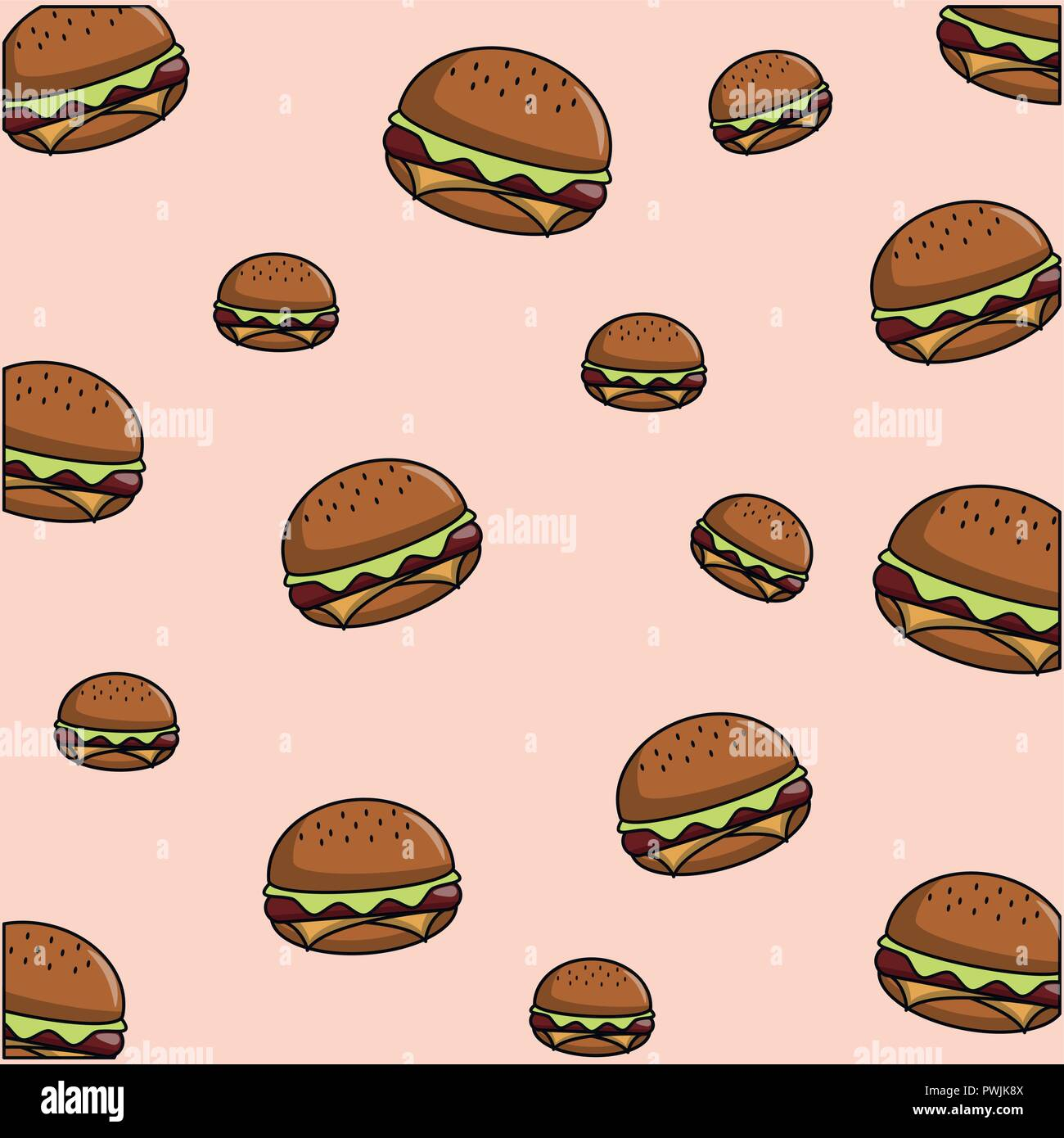 Hamburger Cheeseburger Pattern Theme Colored Wallpaper Vector Illustration Graphic Design