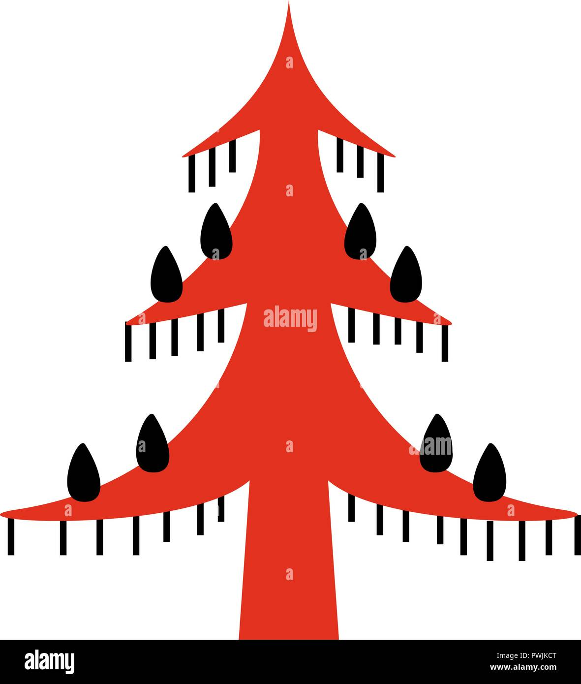 red and blacl fantastic fairy tree. National northen paintings. Folk handicrafts. Enchanting original ornaments. Simplicity. flat pine, spruce, larch, - Stock Vector