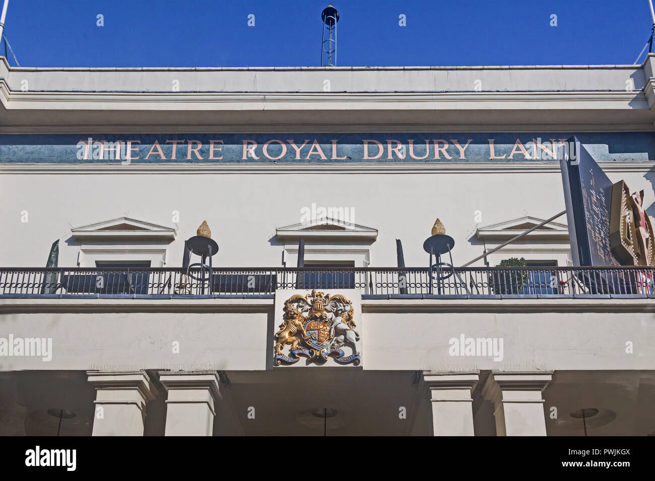 London, Covent Garden .  The Theatre Royal, Drury Lane, showing the central section of the frontage of 1812. - Stock Image
