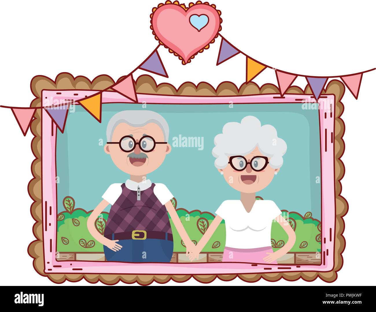 elderly couple portrait cartoon - Stock Vector