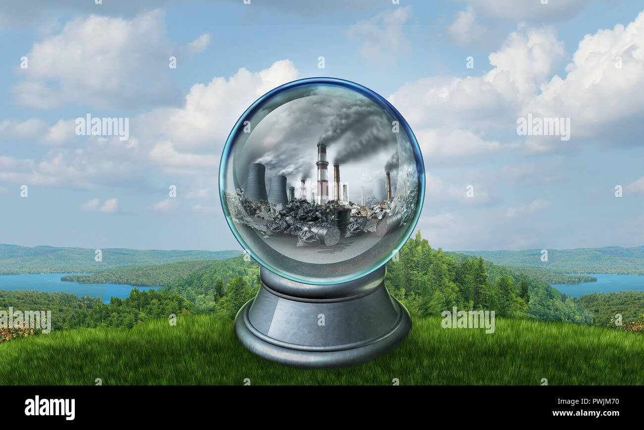 Climate change environmental concept as a polluted environment inside a crystal ball predicting the future of an ecological disaster. - Stock Image