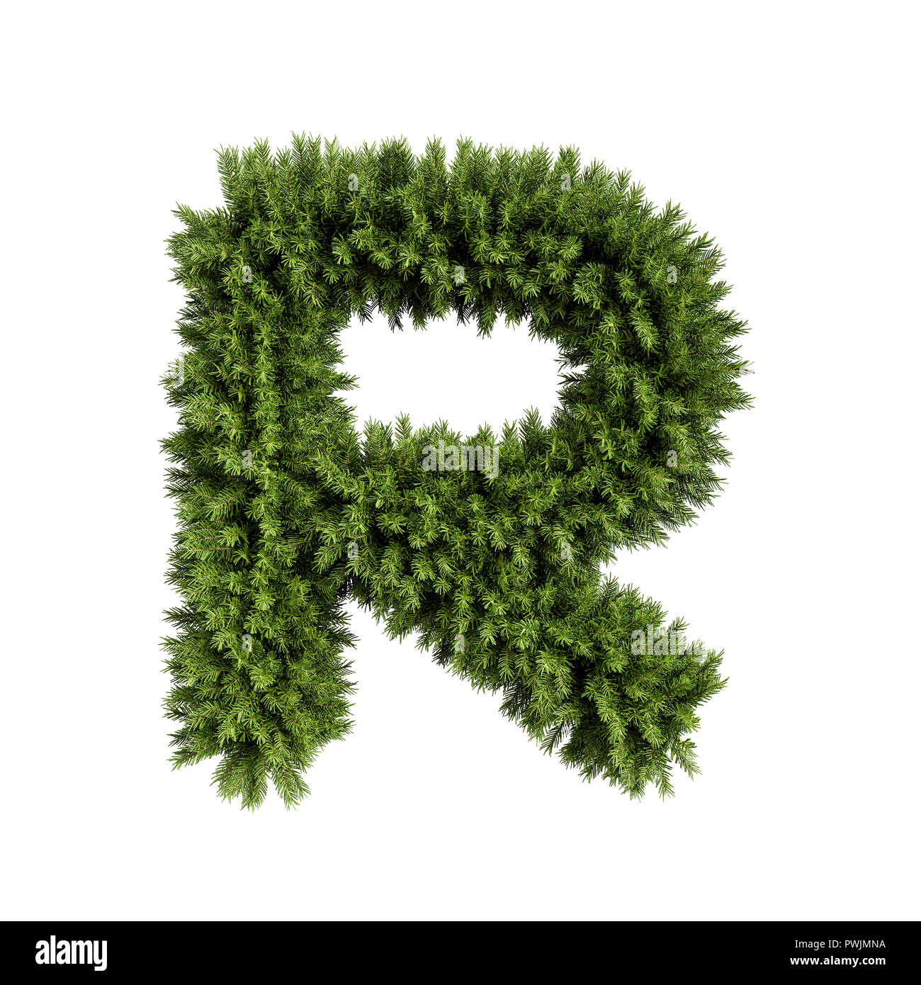 Christmas alphabet ABC character letter R font  Christmas tree