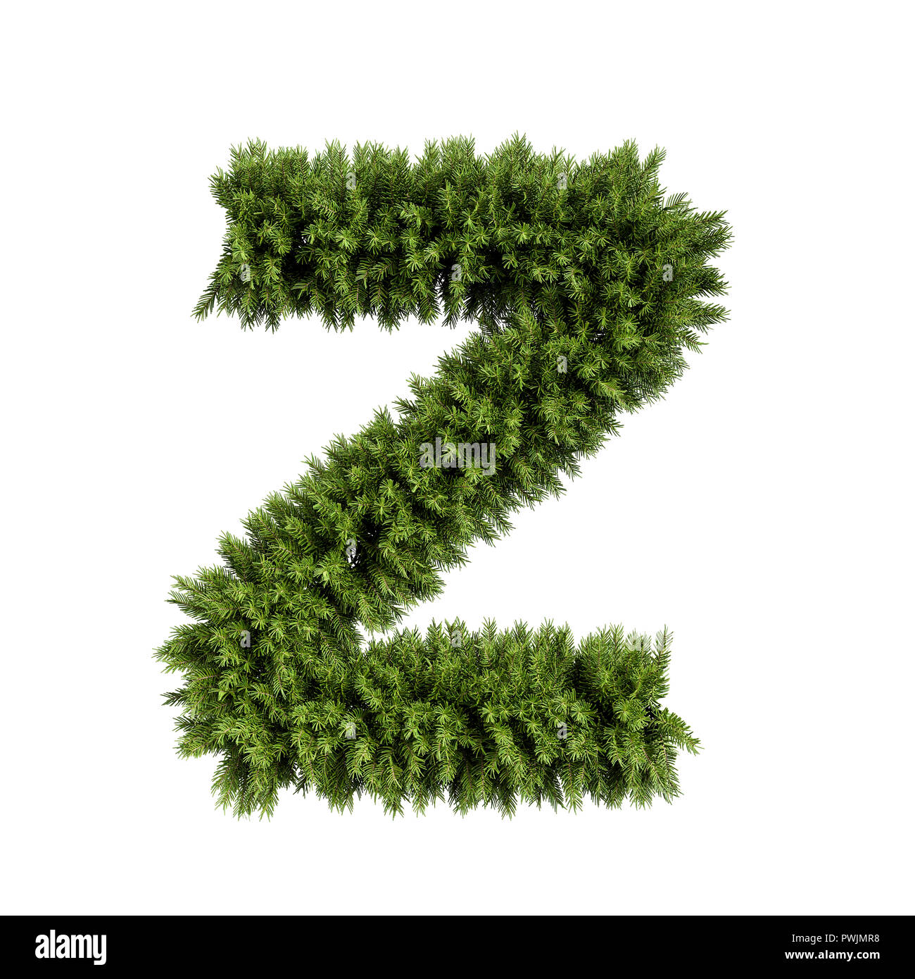 Christmas alphabet ABC character letter Z font  Christmas tree