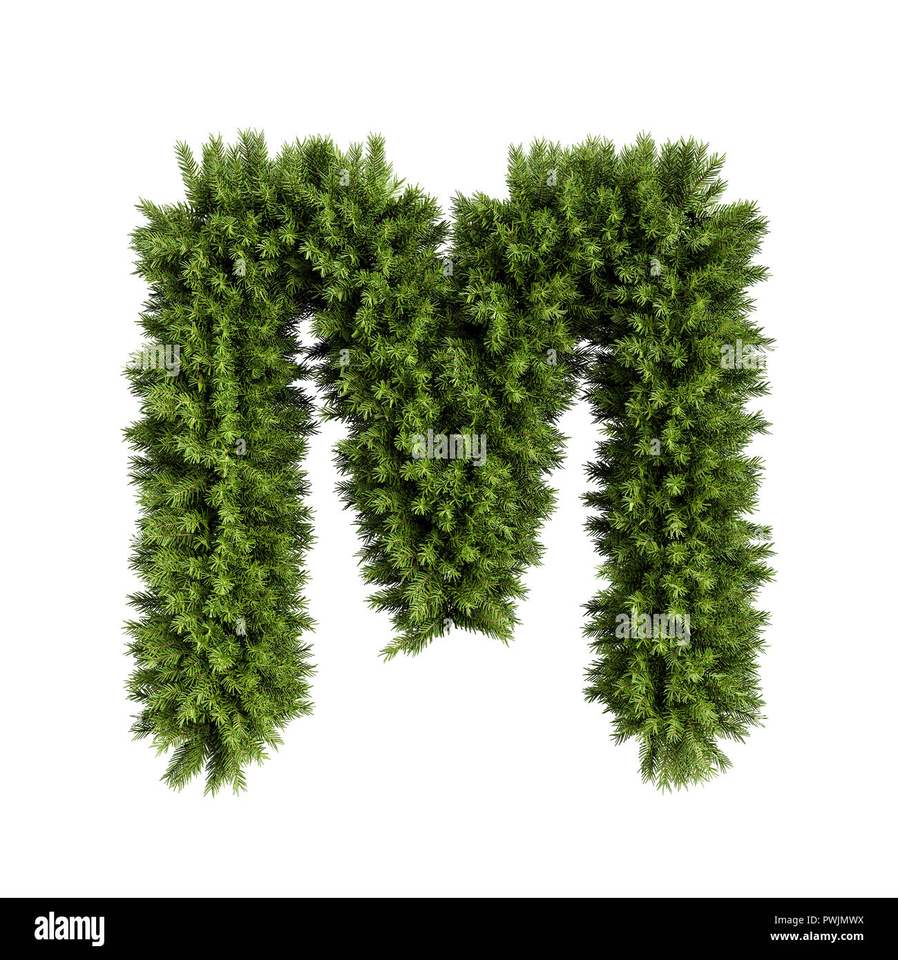 5b7aa40d6a76d Christmas alphabet ABC character letter M font. Christmas tree branches capital  letters decoration type. Highly realistic 3d rendering illustration. T