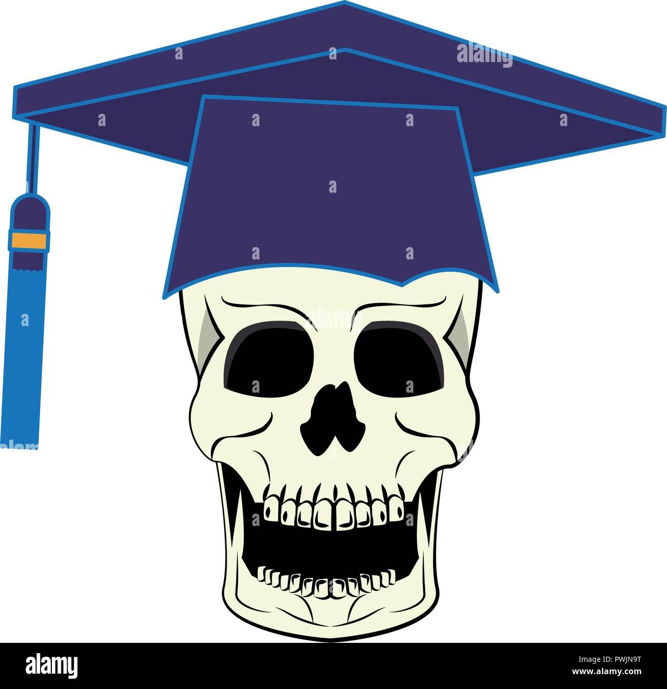 Skull with graduation cap cool drawing vector illustration
