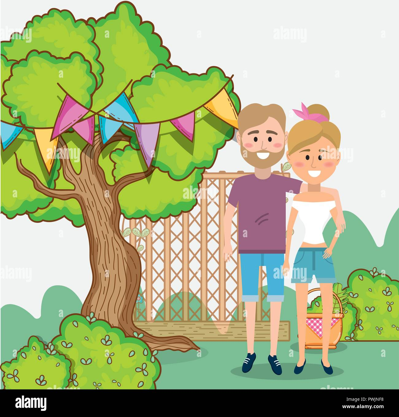 young couple in spring - Stock Vector