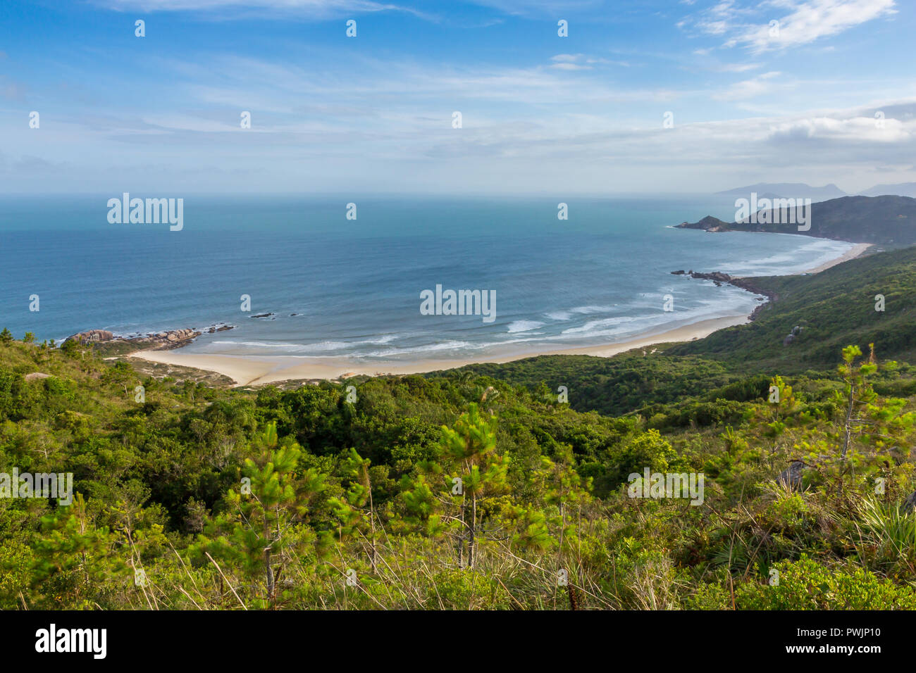 View from a lookout over Galhetas Beach and Mole Beach, Florianópolis, Santa Catarina, Brazil, South America - Stock Image