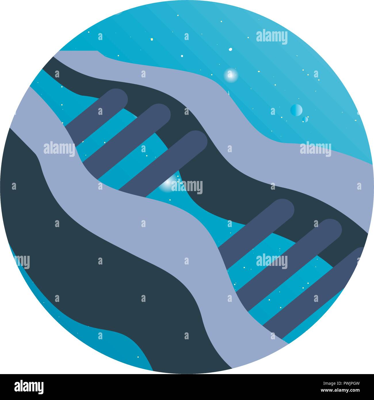 dna genetic material science sticker vector illustration - Stock Image