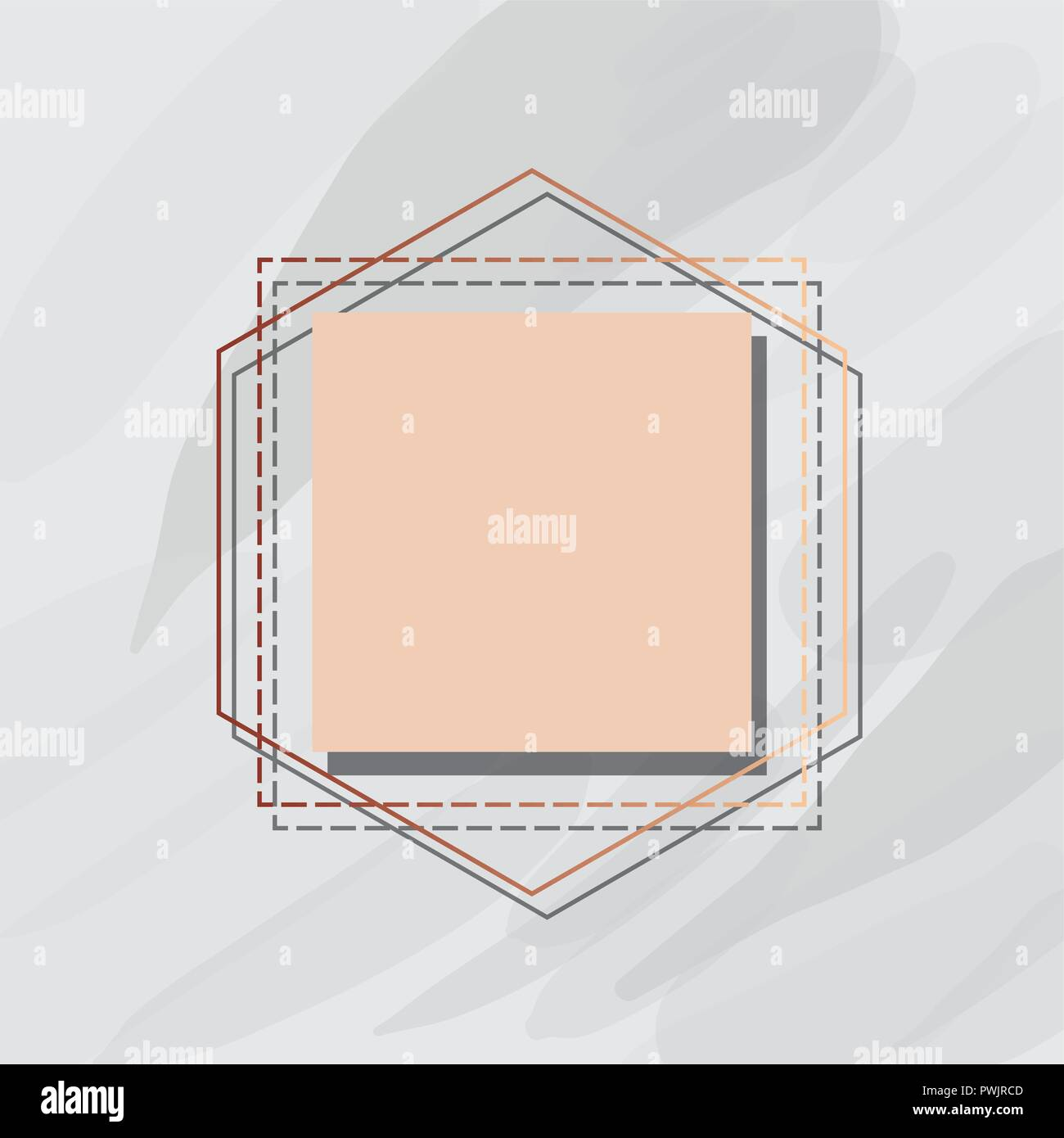 linear frame square label marble template vector illustration stock