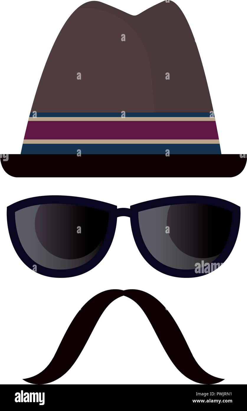 hipster hat glasses and moustache vector illustration - Stock Image