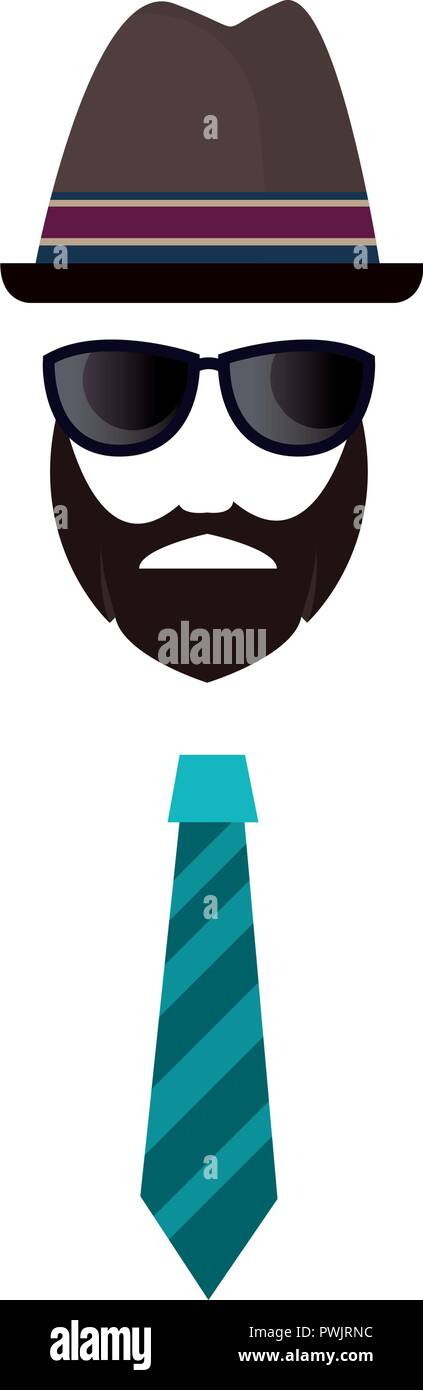 hipster face beard glasses hat and tie vector illustration - Stock Image
