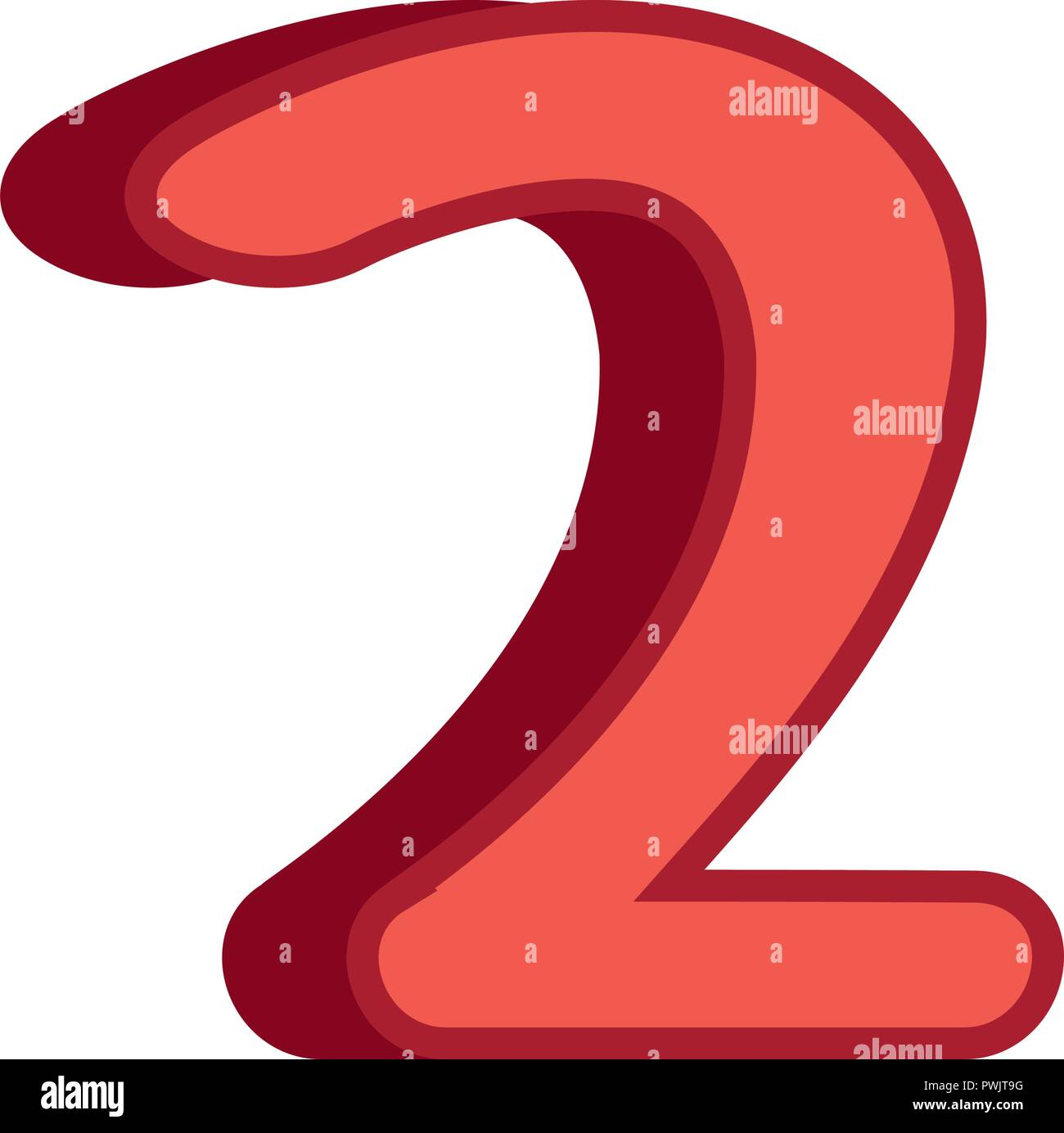 red two number 3d font on white background vector illustration - Stock Image