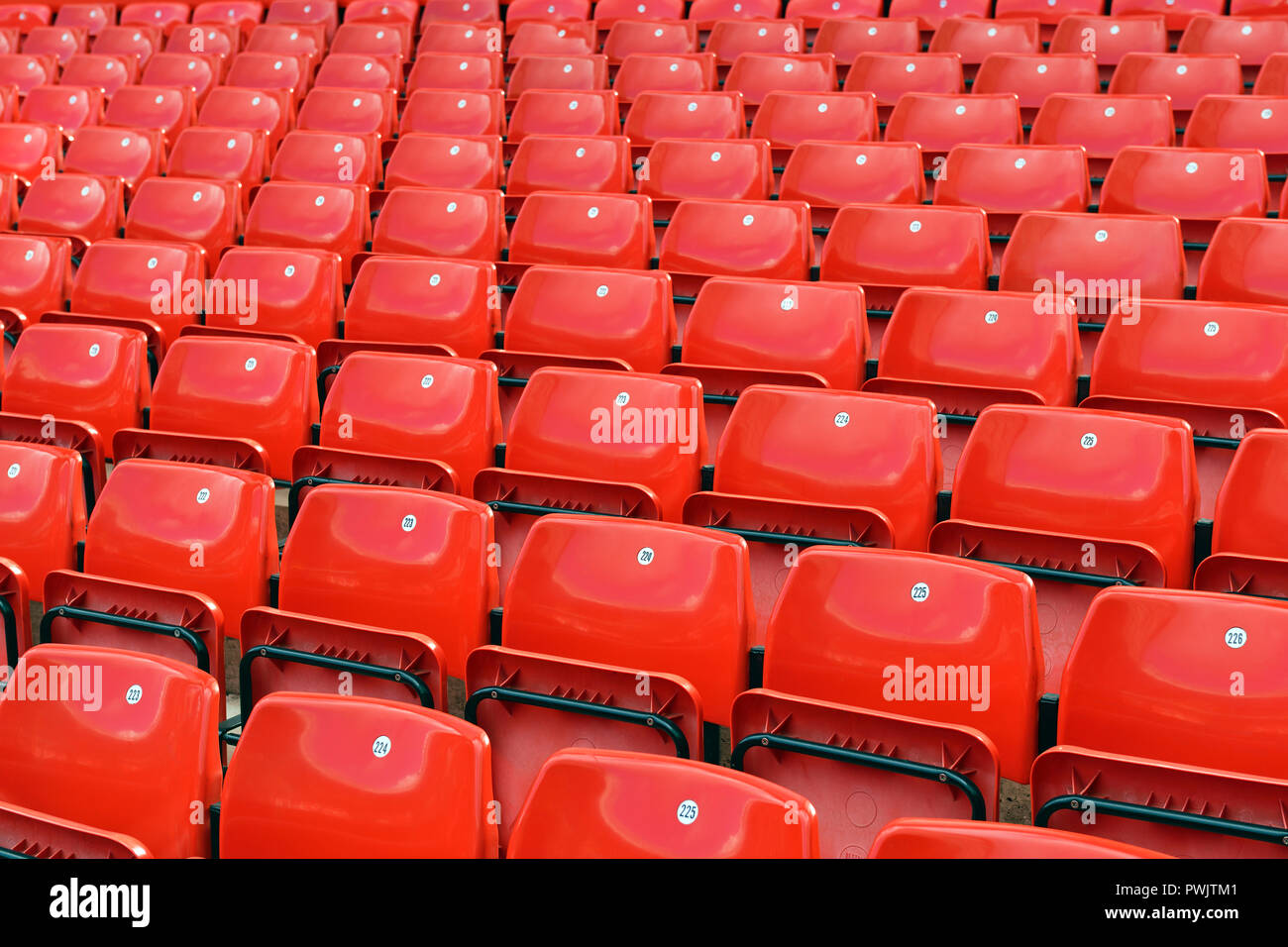 Stadium Seating, Rows of Empty Seats, UK Stock Photo