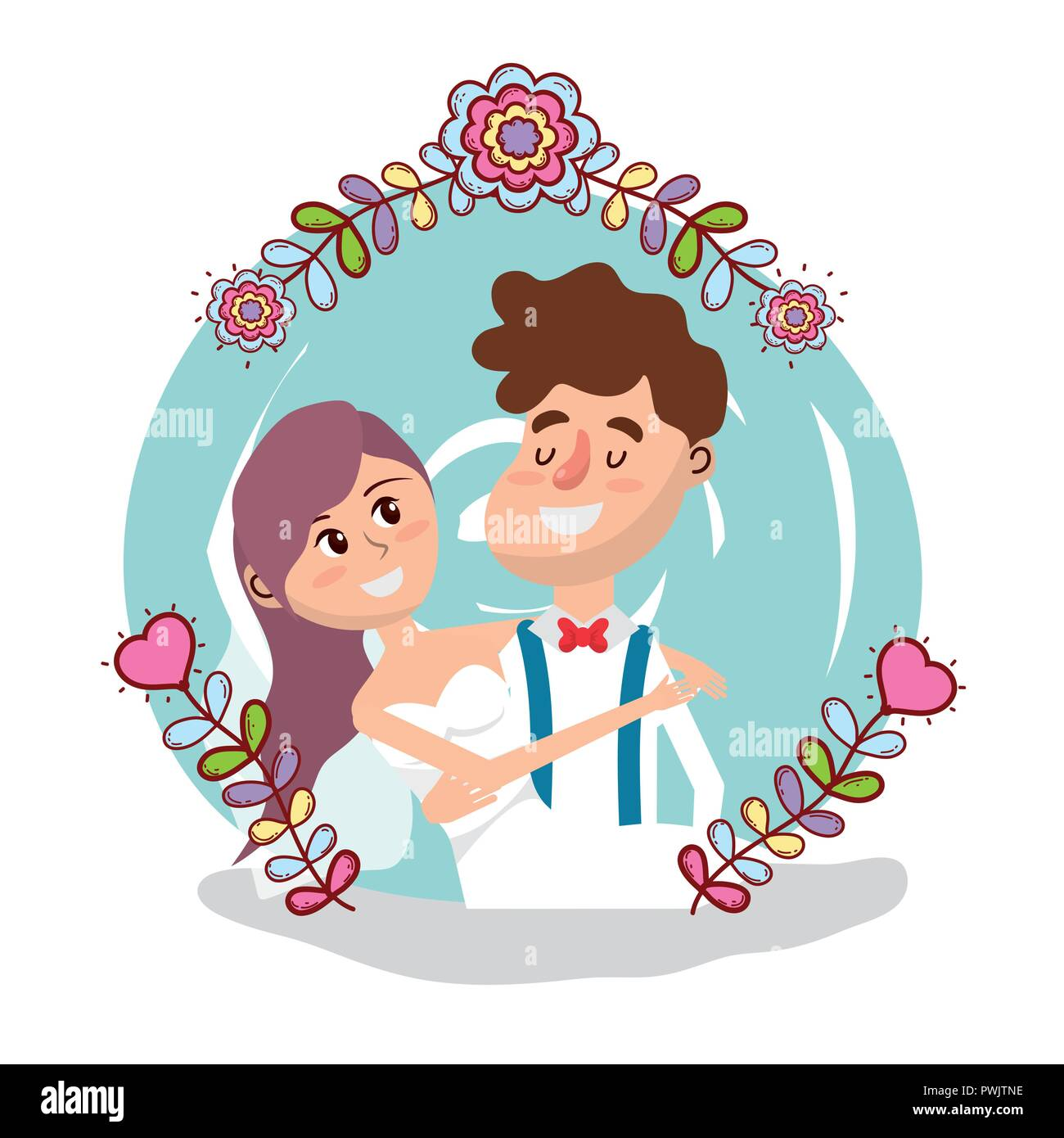 Wedding Card Design Cartoon Stock Vector Art Illustration