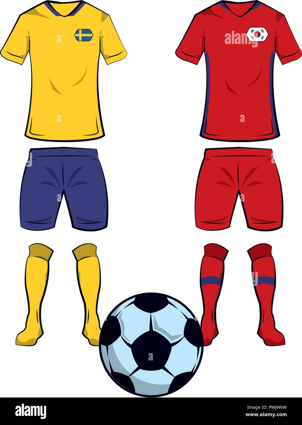 9c9c0bd42 Soccer sweden and south korea teams uniforms and ball vector illustration  graphic design