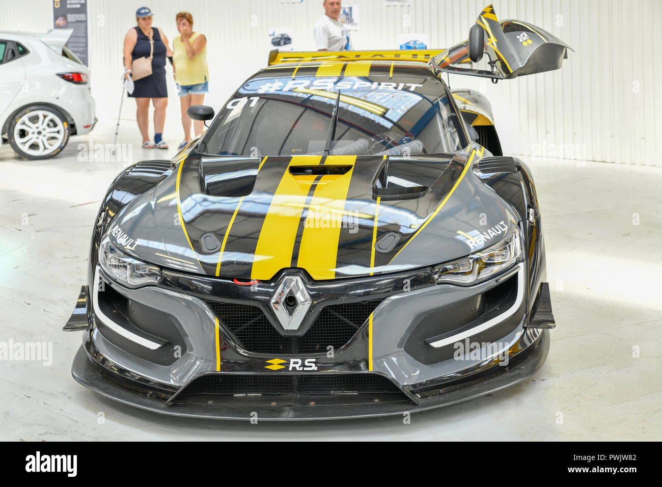 DIEPPE, FRANCE - JUNE 30, 2018: Renault car modele R.S. spirit. Car on the factory Alpine - Stock Image