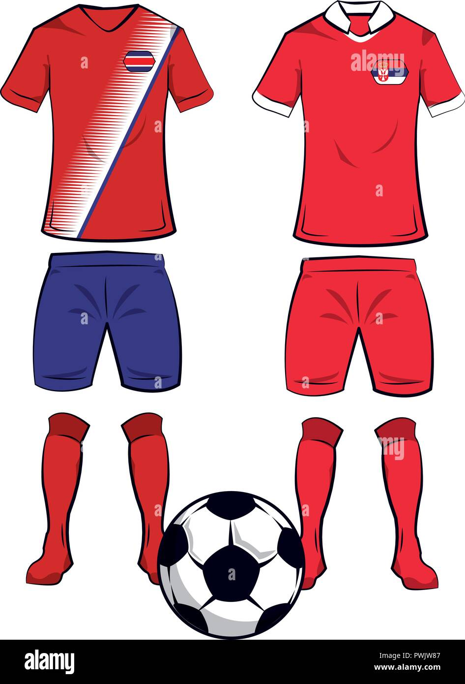 a125c9683d8 Soccer costa rica and serbia teams uniforms and ball vector illustration  graphic design