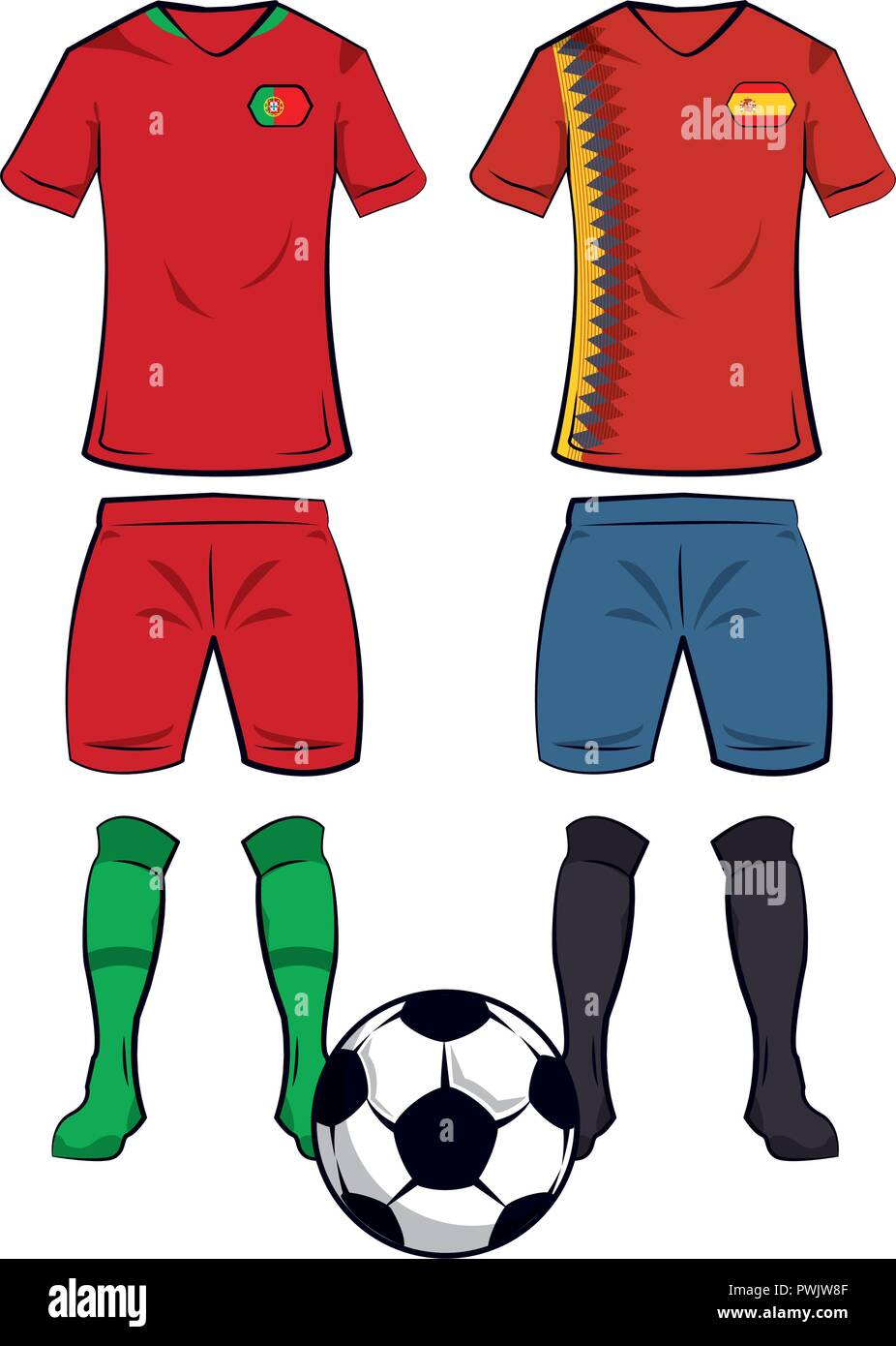 a431e29a0 Soccer portugal and spain teams uniforms and ball vector illustration  graphic design