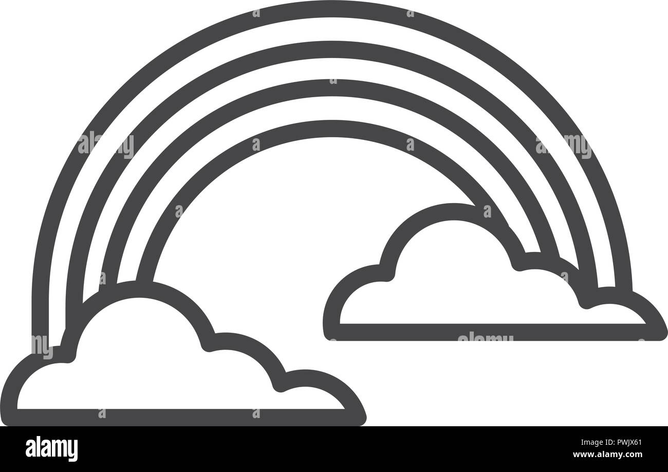 Clouds and rainbow symbol in black and white