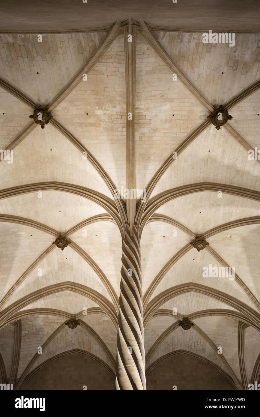 La Llotja gothic vaulted ceiling interior in Palma de Mallorca, Balearic islands, Spain Stock Photo