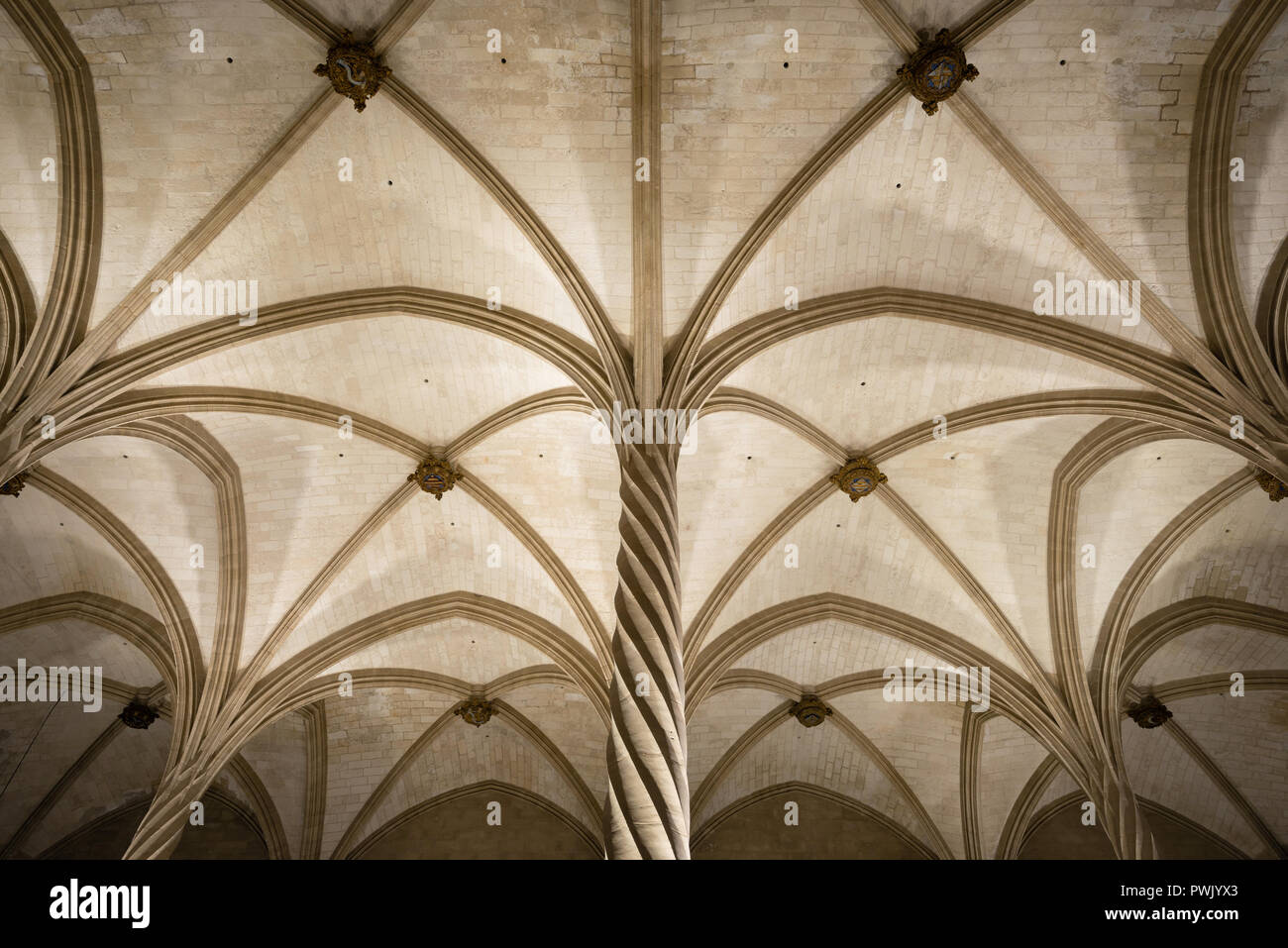 La Llotja gothic vaulted ceiling interior in Palma de Mallorca, Balearic islands, Spain Stock Photo