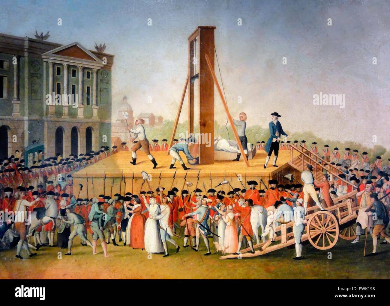 Marie Antoinette's execution in 1793 at the Place de la Révolution - Stock Image