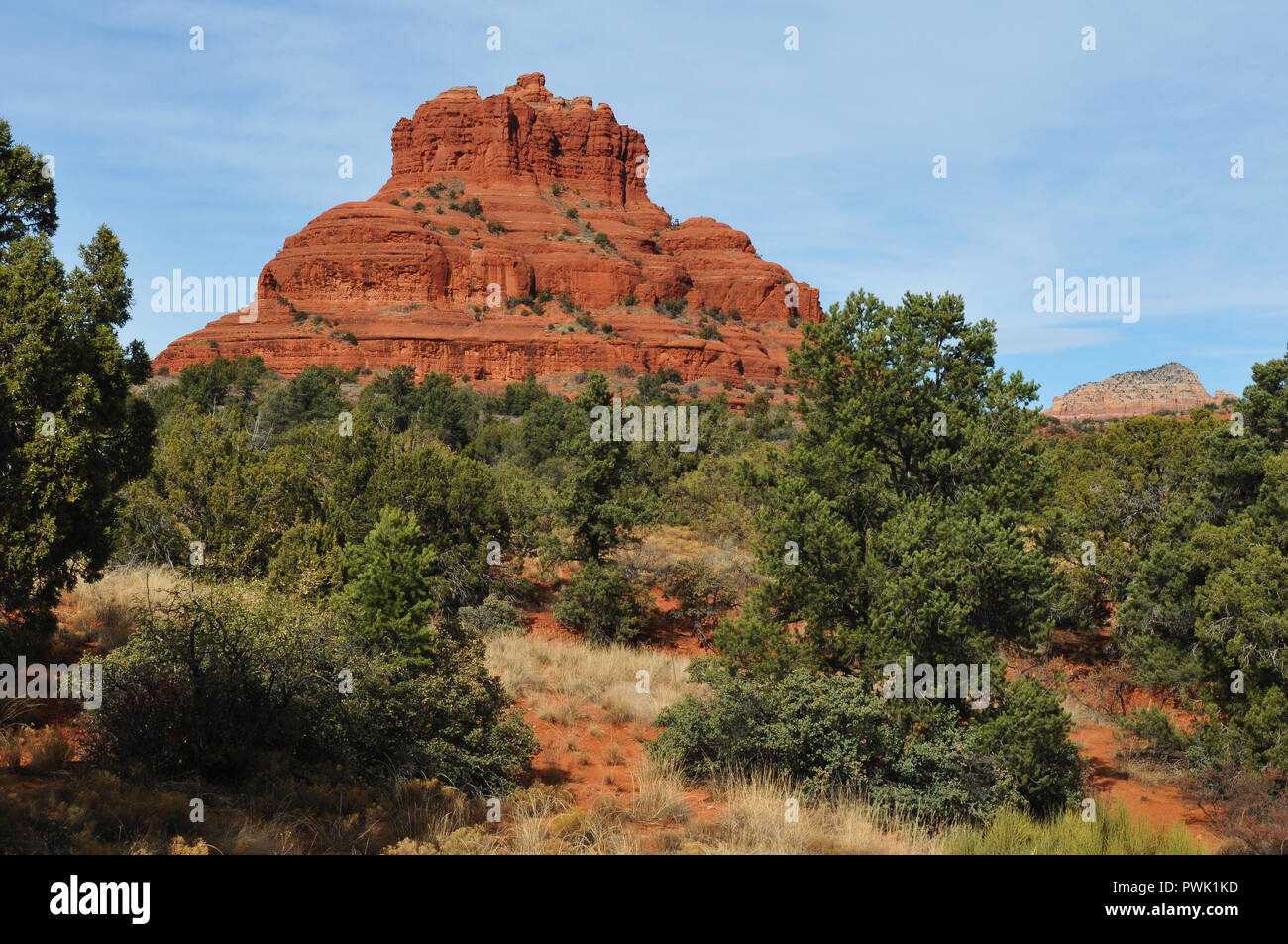 Bell Rock is one of the most popular of the red rock formations in the Sedona, Arizona area, and is considered one of its vortex sites. Stock Photo