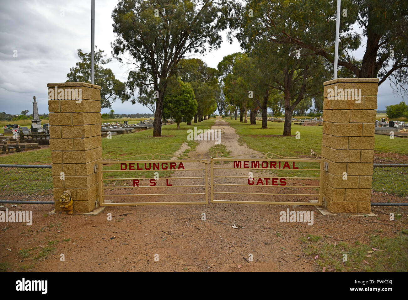Entrance to delungra RSL memorial cemetary in northern new south wales, australia - Stock Image