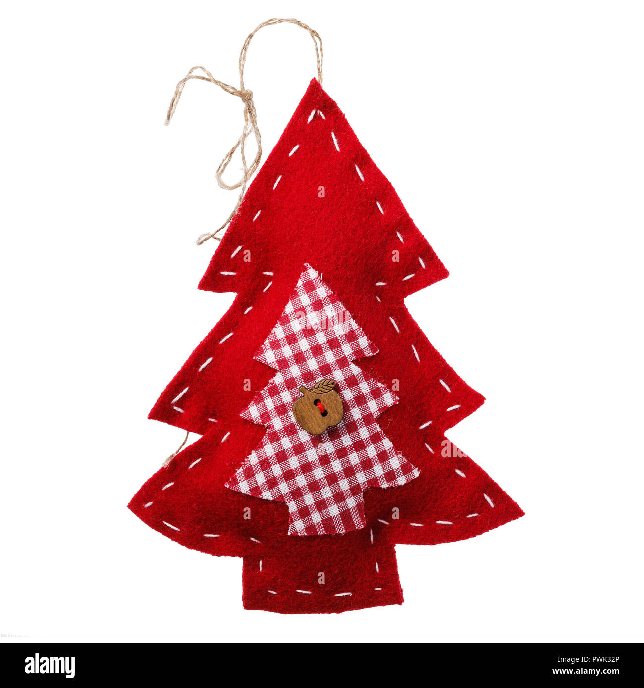 Red spruce toy as decoration for Christmas holidays, isolated on white background - Stock Image